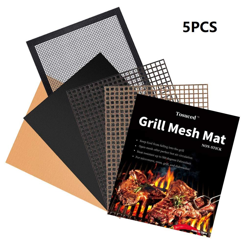 Tosuced BBQ Grill Mesh Mat Set of 5 - Non-Stick Premium Grill Cooking Mat, Reusable, and Easy to Clean Barbecue Grilling Accessories for Smoker, Pellet, Gas, Charcoal Grill etc (15.75 x 13 Inch) by Tosuced