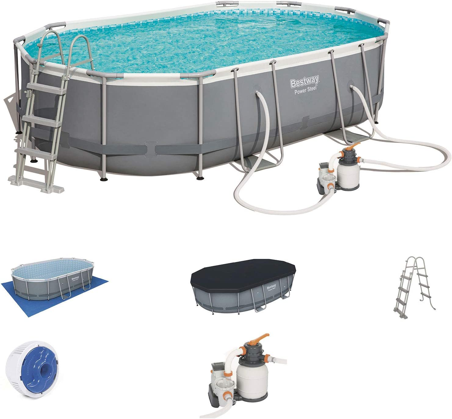 Bestway 56448SF - Piscina Desmontable Tubular Power Steel Oval ...