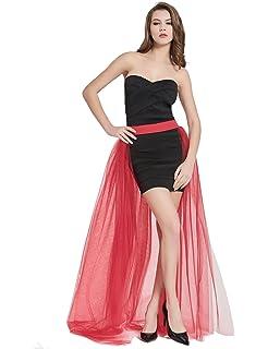 ea52ffedc32b34 Women's 4 Layers Overlay Long Tulle Skirt Overskirt Floor Length Tutu for Wedding  Party (Red