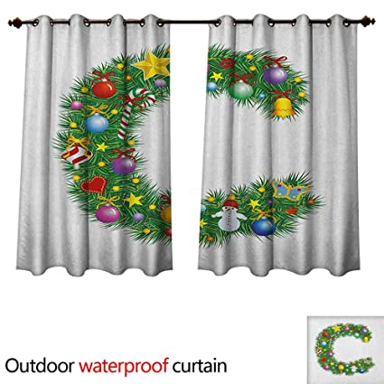 Amazon.com: Anshesix Letter C Home Patio Outdoor Curtain ...