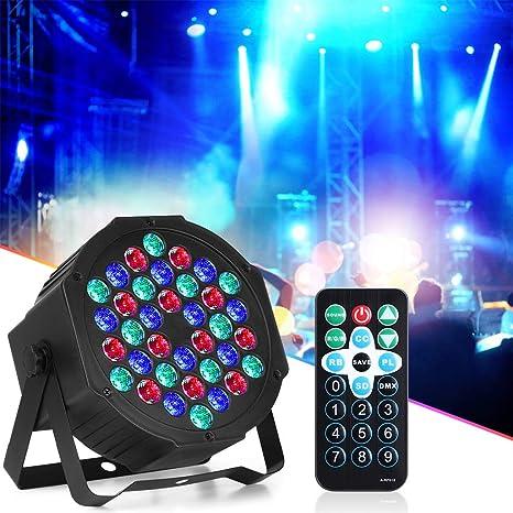 Luz de Escenario Par, LED Luz de Discoteca, 36LED 72W RGB Soporte ...