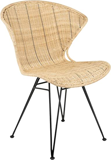 Amazon Com Kouboo Jaro Rattan Metal Legs Natural Color Black Set Of 2 Dining Chair Brown Chairs