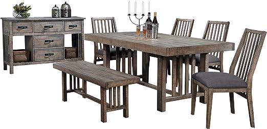 Chilberg Industrial 7PC Mesa de Comedor, 4 sillas, Banco, Servidor en Madera rústica: Amazon.es: Juguetes y juegos