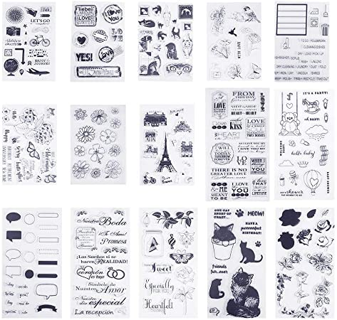 Style 02 SOOKOO 6 Sheets Different Style Clear Stamps for Card Making Decoration and Scrapbooking