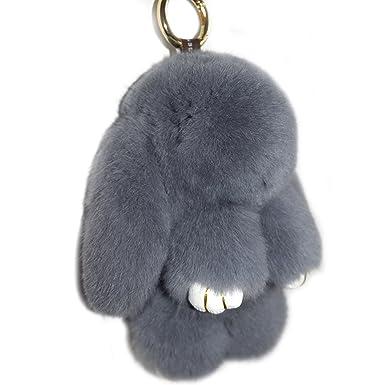Amazon.com: Llavero de piel de conejo real Valpeak peludo y ...