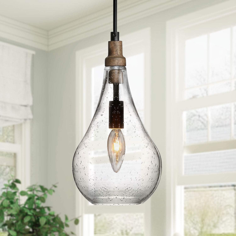 KSANA Wood and Glass Pendant Light, Seeded Glass Farmhouse Pendant ...