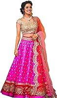 Ecolors Fab Women's Silk Lehenga Saree Lehenga Choli (Ec_Lovely_Pink_Pink_Free Size)