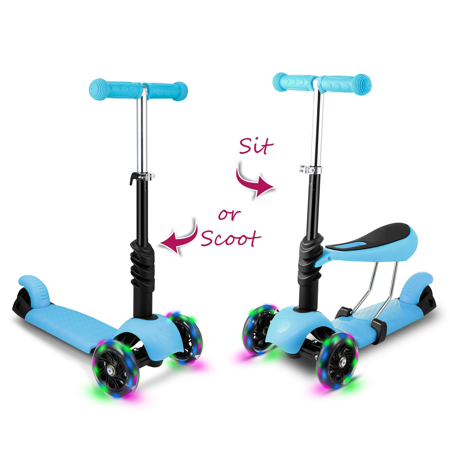 Hikole Kids Toddler Kick Scooter with Seat | Three-Wheeled Mini Foldable Adjustable Push Fun Exercise Toy Scooter with LED Flashing Wheels, Birthday Gift for Boys Girls Age 2 Up (Blue)