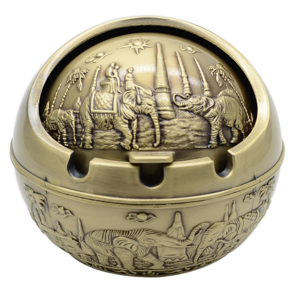 TOWOMO Vintage Wind-proof Ashtray with Lid, ride an Elephant Pattern Decorative Ash Tray Holder for Cigarettes (Antique Brass)