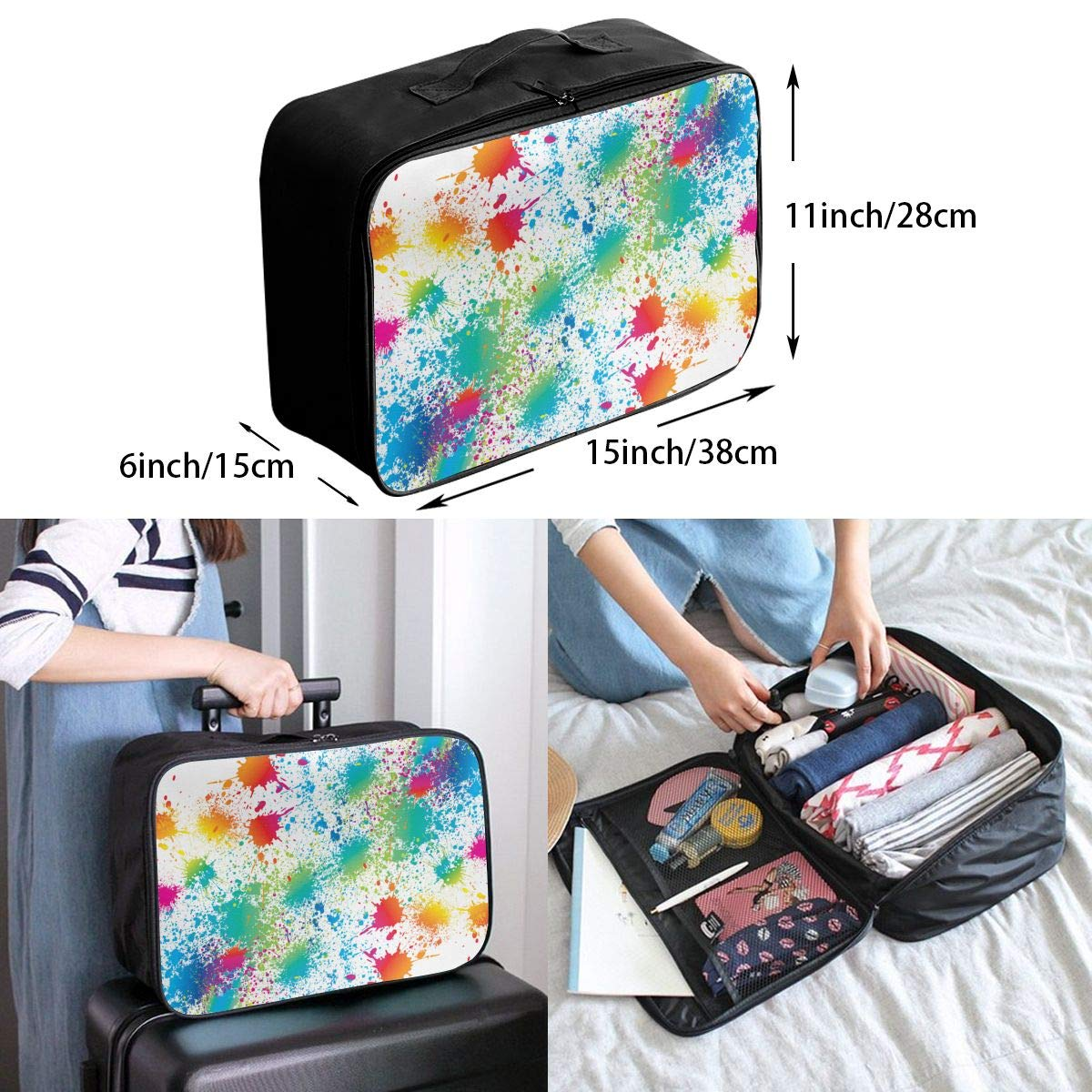 YueLJB Paint Splatter2 Lightweight Large Capacity Portable Luggage Bag Travel Duffel Bag Storage Carry Luggage Duffle Tote Bag