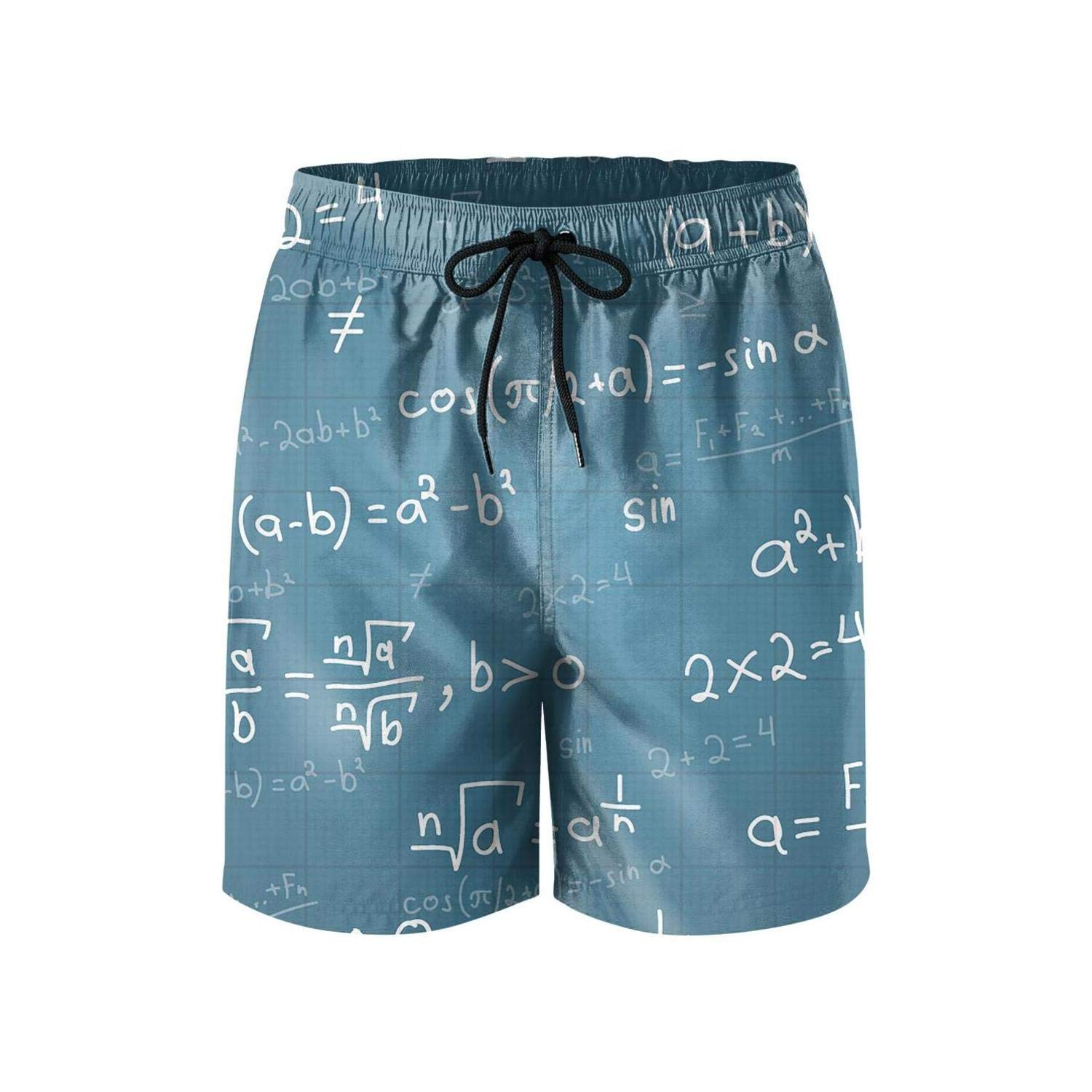 NDKSO3UH Math Equations Physics Science Mens Swim Trunks Quick Dry Tropical Mesh Lining Swimwear with Drawstring