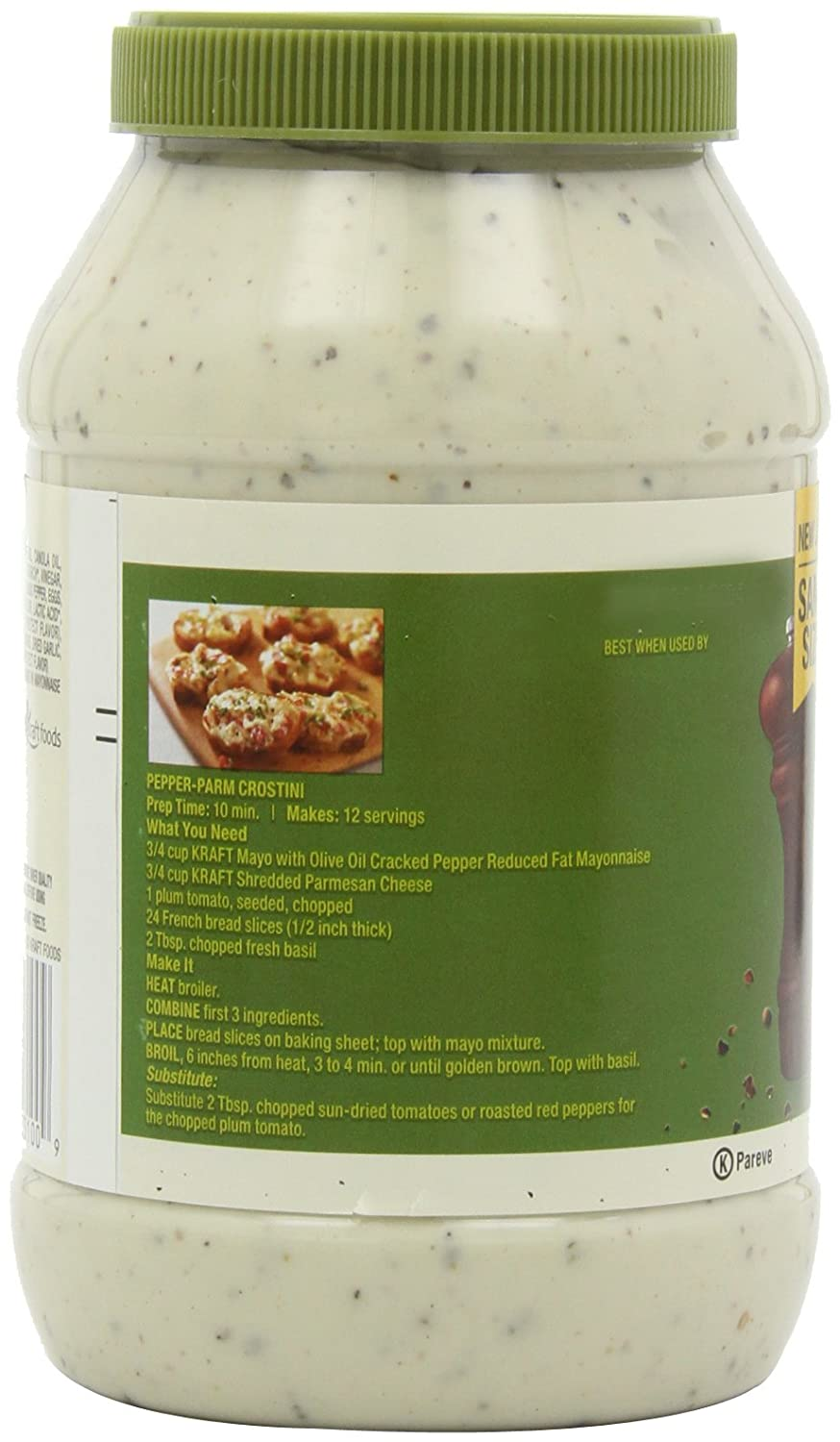 6816adc29413 Amazon.com : Kraft Reduced Fat Cracked Pepper Mayo (30 oz Jars, Pack of 3)  : Mayonnaise : Grocery & Gourmet Food
