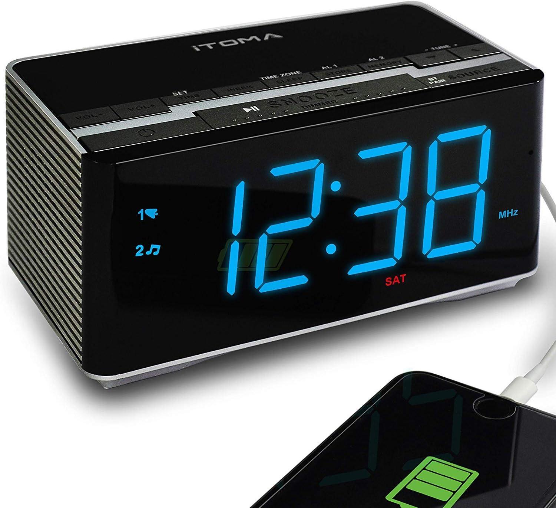 iTOMA Electronic Alarm Clock Radio-Bluetooth Stereo Speakers,FM Radio,Dual Alarm,Snooze,Brightness Dimmer,USB Charging Port,Backup Battery(CKS3501BT2.0)