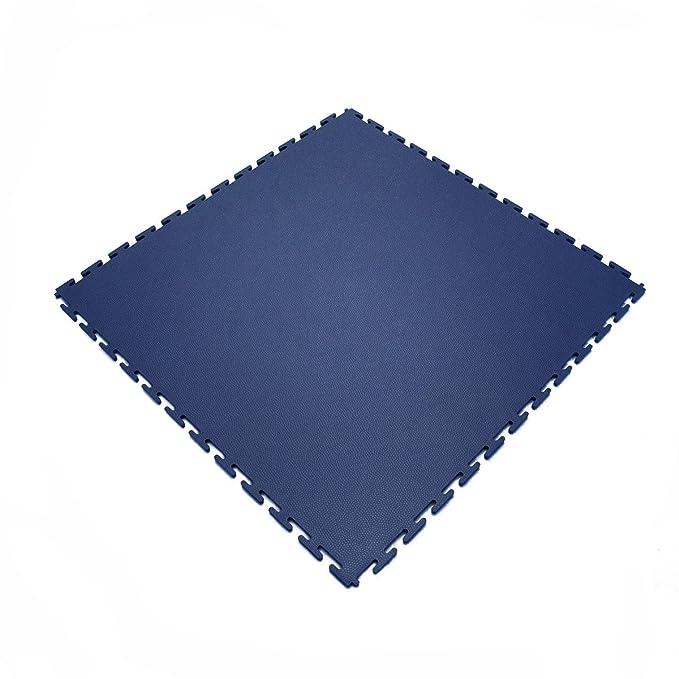 2 opinioni per Piastrelle ad incastro per pavimenti industriali in PVC, blu scuro e grigio