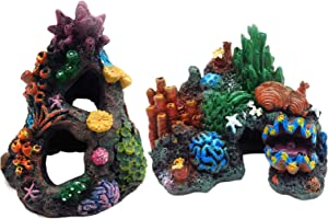 Tfwadmx Aquarium Coral Decoration Fish Tank Hiding Mountain Cave Betta Fish Hideaway Rock Coral Reef Ornament, 2 Pack.