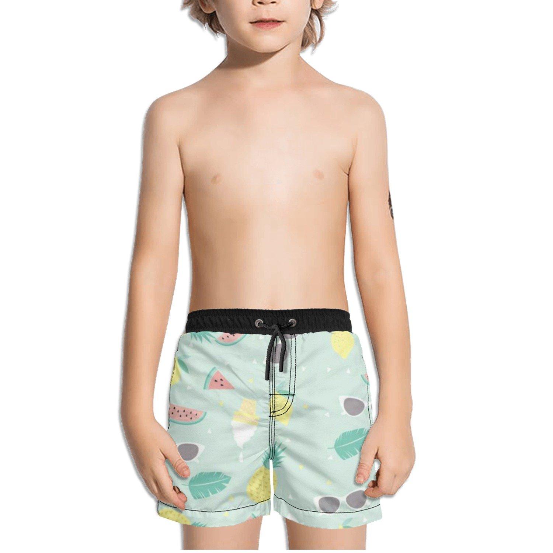 Ouxioaz Boys' Swim Trunk Pineapple Watermelon Sunglass Leaves Beach Board Shorts