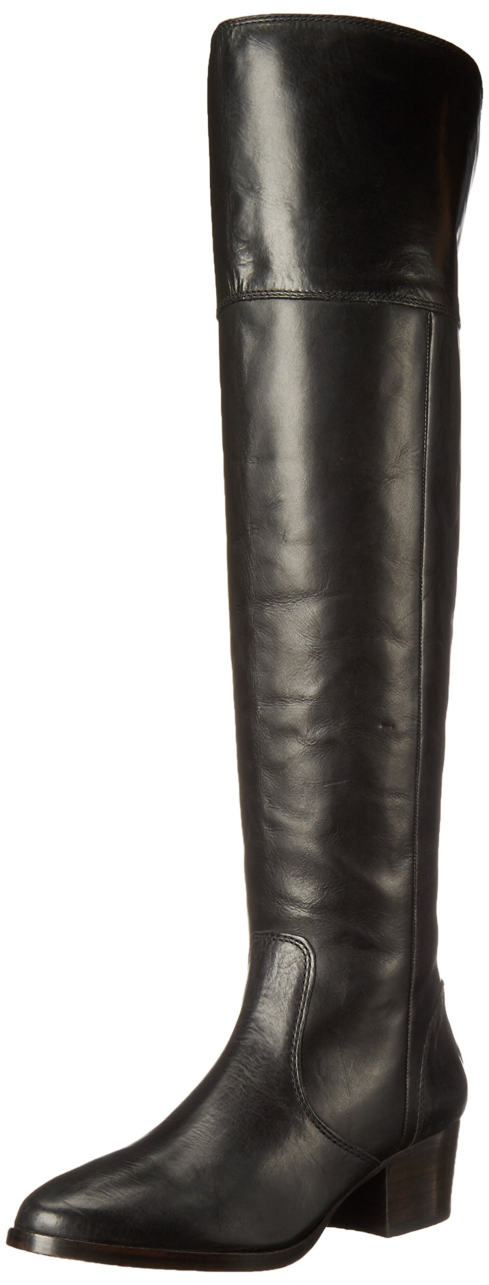 FRYE Women's Clara OTK Leather Slouch Boot, Black, 8 M US