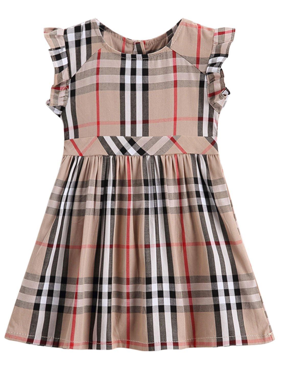ALLureLove Cute Litte Girls Plaid Dress Sleveless Party Princess Dress (Beige-5,4-5Y)