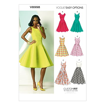 Amazon.com: Vogue Patterns V8998 Misses\' Dress Sewing Template, Size ...