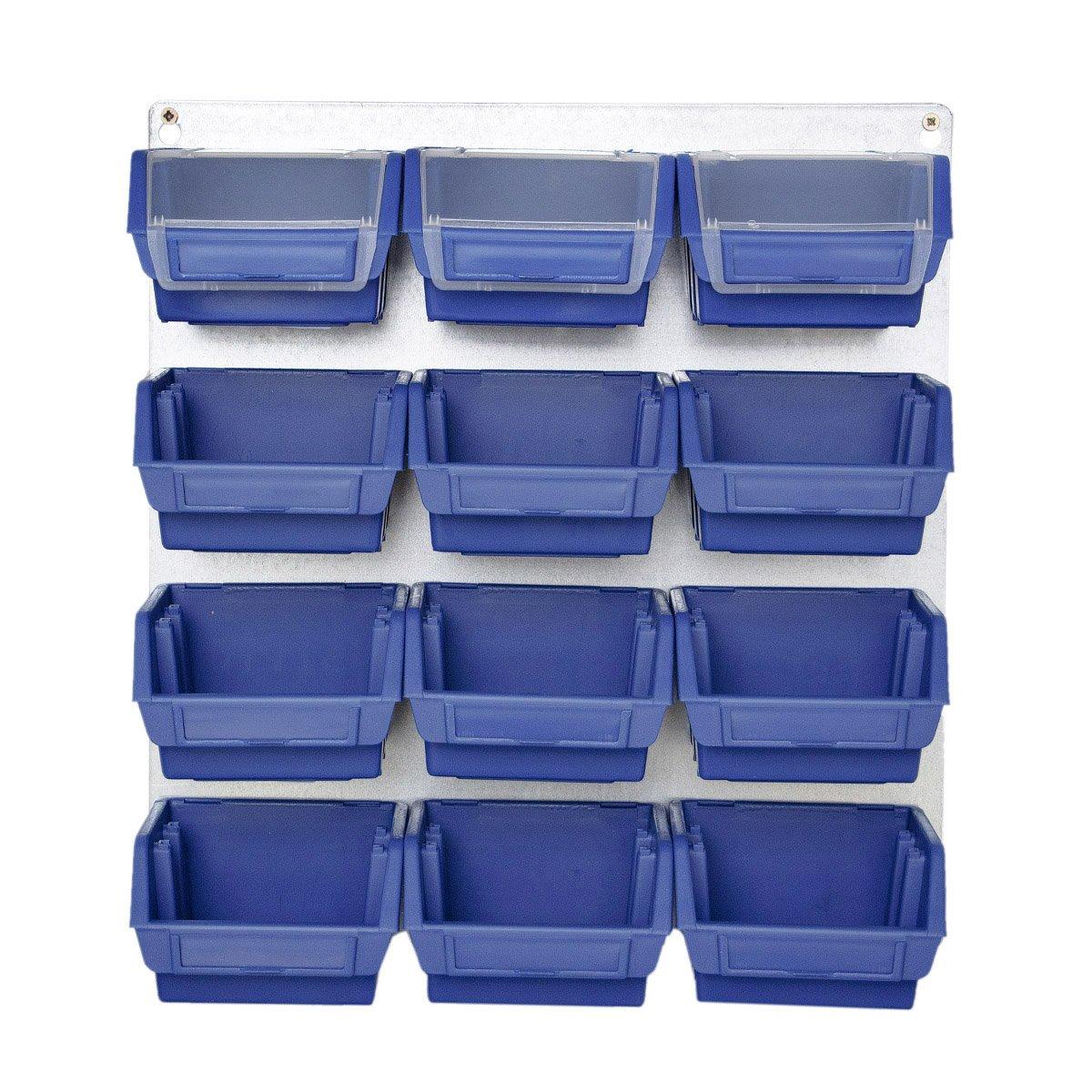 Blau Metallhalterung Halterung Metall Wandregal Schraubenkisten 13 tlg mit Stapelboxen Werkstattwand myBoxshop PL1-9971