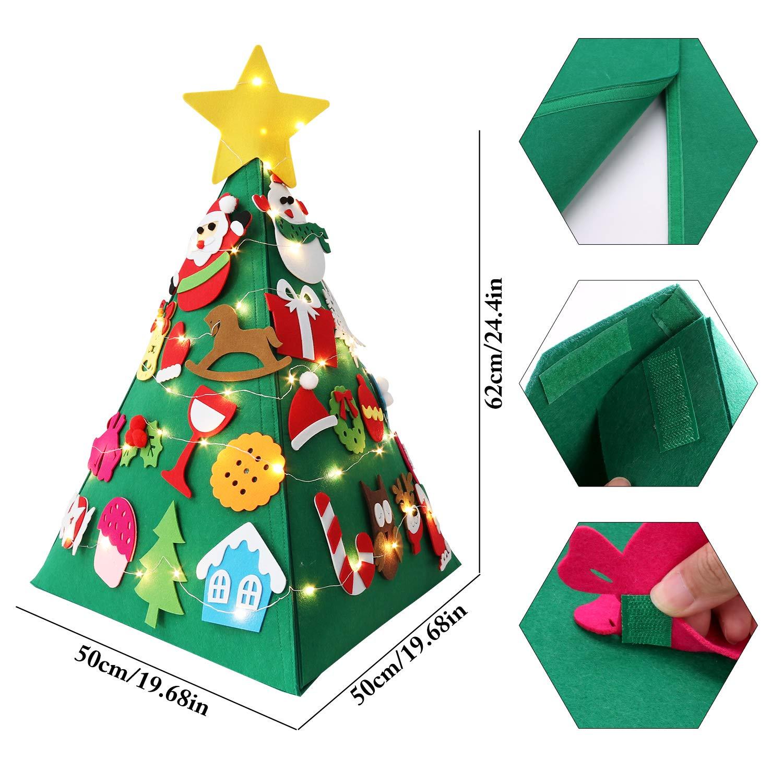 Fansport DIY Felt Christmas Tree Set with Xmas Tree Ornaments for Toddlers DIY, DIY Christmas Felt Tree for Kids Christmas Detachable Felt Tree for Xmas Decor