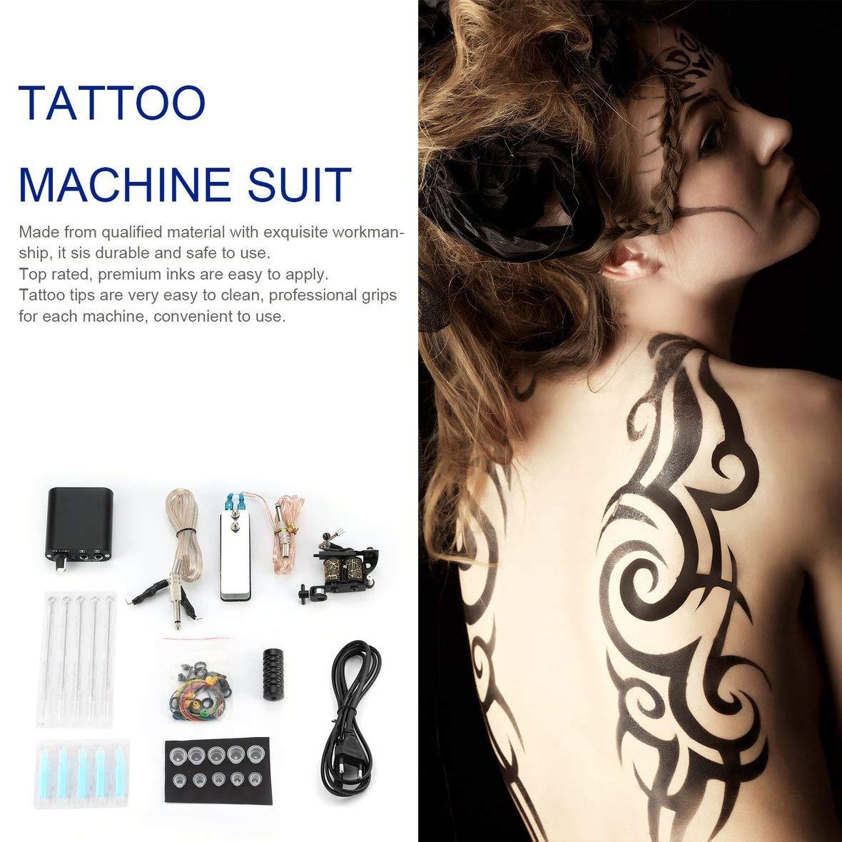 Heaviesk M/áquina para Hacer Pistolas de Tatuaje Kit de Tatuaje para Principiantes Completo Tintas para m/áquinas Profesionales Fuente de alimentaci/ón Agujas agarres Consejos