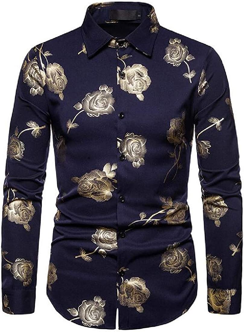 Fubotevic Men Stylish Club Floral Print Button Up Long Sleeve Dress Shirts