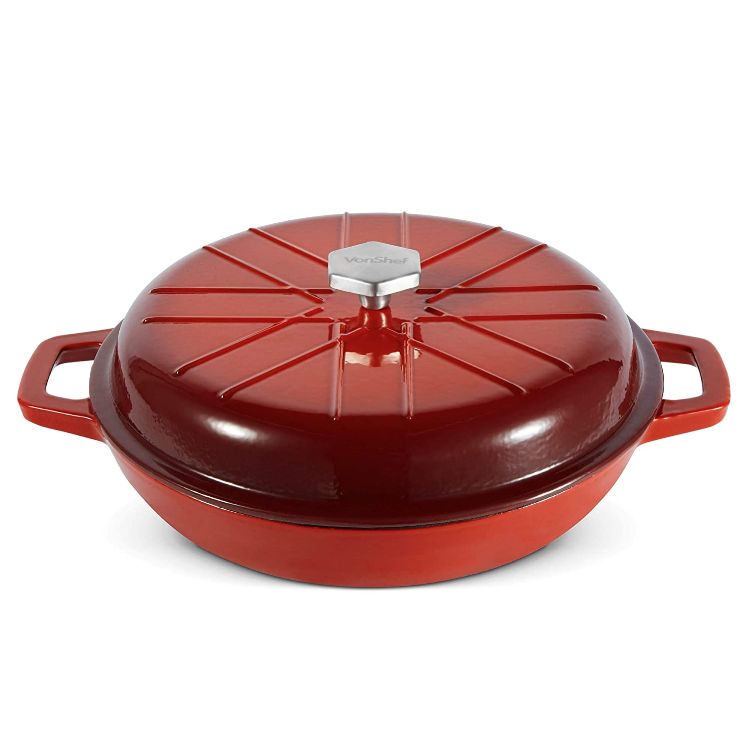 VonShef Cast Iron Shallow Dutch Oven Casserole Dish Braiser Pan With Non-Stick Enamel Coating, Signature VonShef Style Stew Pot, Red Ombre, 3 Quarts
