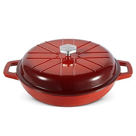 VonShef Cacerola Baja para horno de hierro fundido de 3L rojo ...