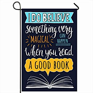 "Ahawoso Outdoor Garden Flags 12""x18"" Inch Read About Books Do Quote Hand Handwritten Believe Drawn Good Vertical Double Sided Home Decorative House Yard Sign"