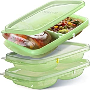 Freezer Food Trays Cubes - Stock Storage Freeze Cup Cubes with Leakproof Lids 6 piece (3 Trays + 3 Lids) - Freezer Portion Containers - Soup Meal Ice Cube Portion Trays with Cube Lids