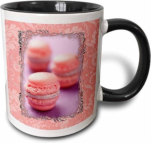 3dRose 149992/_4 Pink Macaroons Mug 11 oz Black
