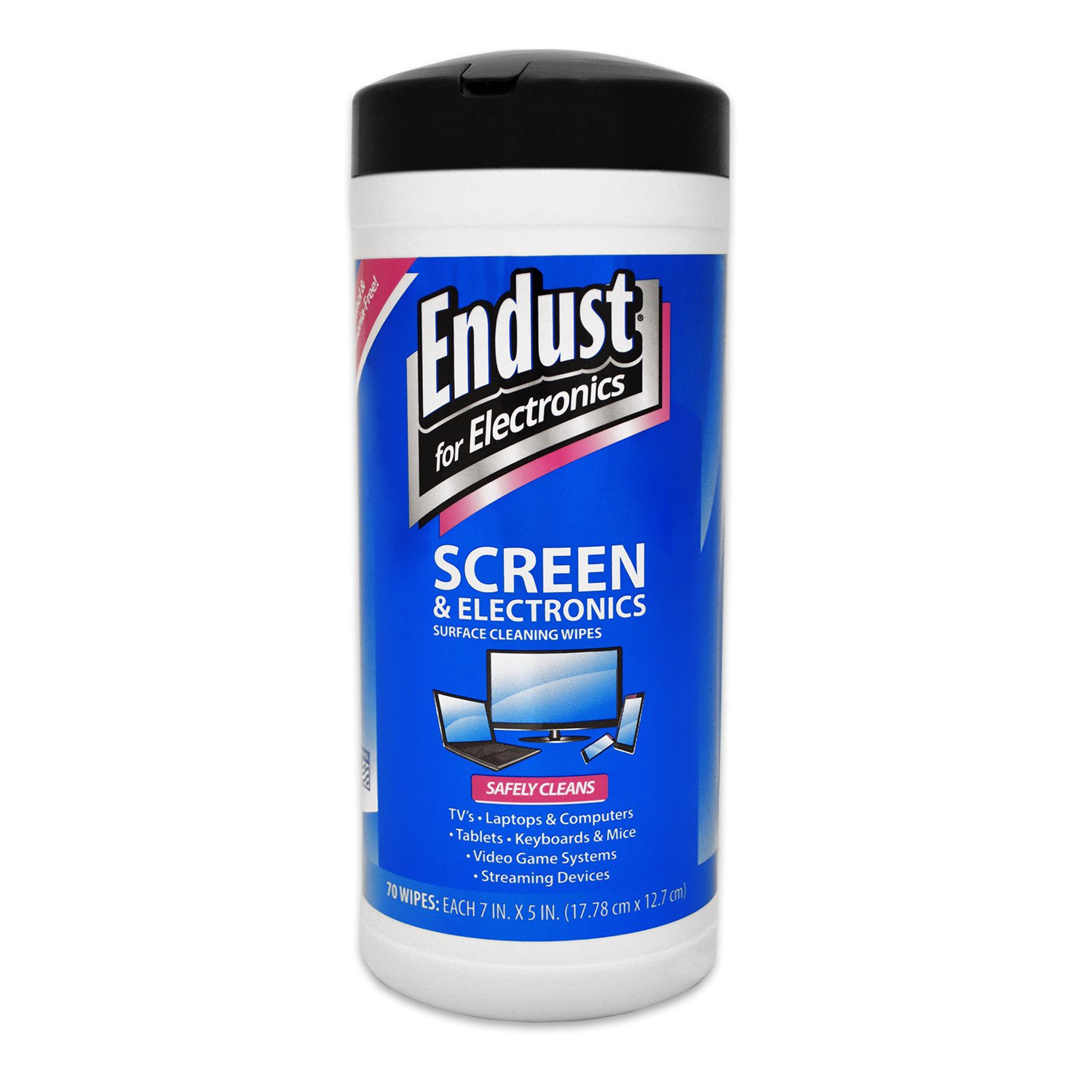 Endust for Electronics, Screen cleaning wipes, Surface cleaning, Great LCD and Plasma wipes, 70 Count (11506)