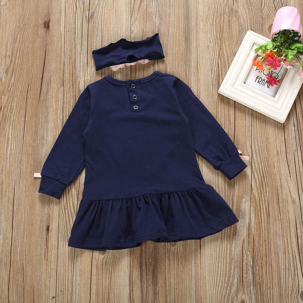 Floral Dress Toddler Newborn Baby Girl Little Princess Dresses Long Sleeve Skirt Outfits Fall Winter Clothes 3-24 Months