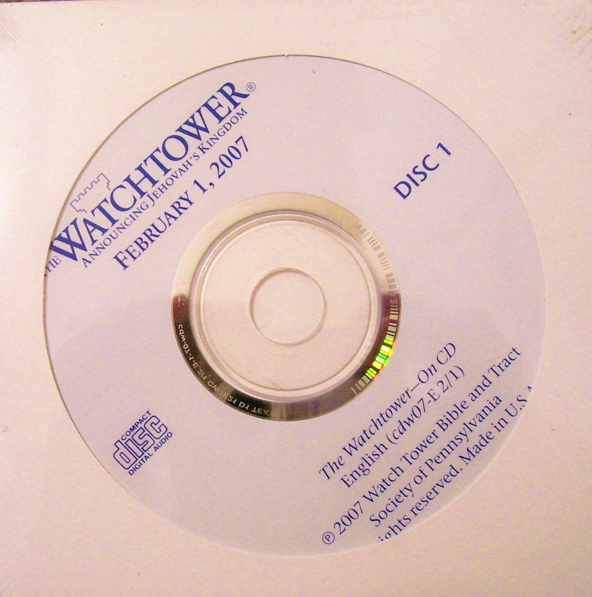 Download The Watchtower ~ Announcing Jehovah's Kingdom ~ May 1, 2007 ~ Audio CDs (Discs 1 and 2) PDF