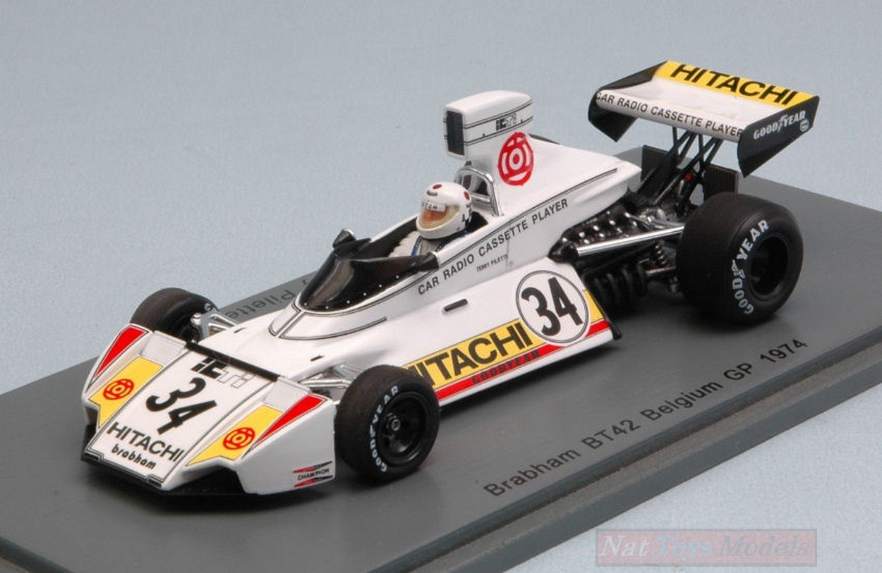 Spark Model S4784 BRABHAM BT42 Teddy PILETTE 1974 N.34 17th Belgian GP 1:43