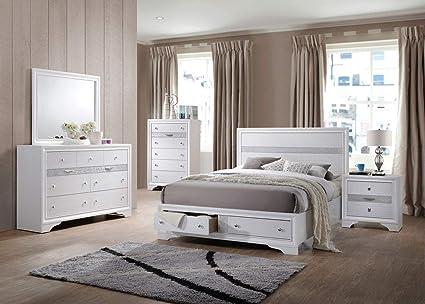Amazoncom Giantex 5 Piece Wood Bedroom Sets Bed Frame Storage End