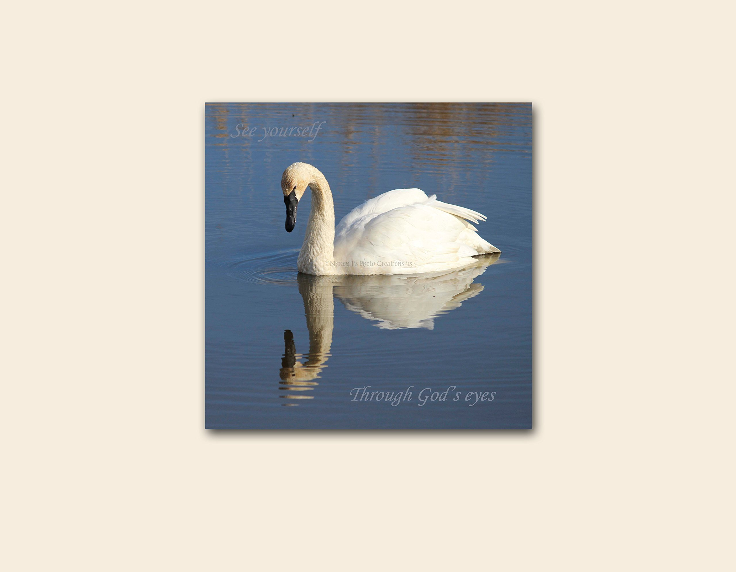See Yourself Through God's Eyes Swan Photo on CANVAS Motivational Wall Art Nature Photography White Blue Home Decor Christian Gift Idea 12x12'' IN STOCK Ready to Ship & Hang