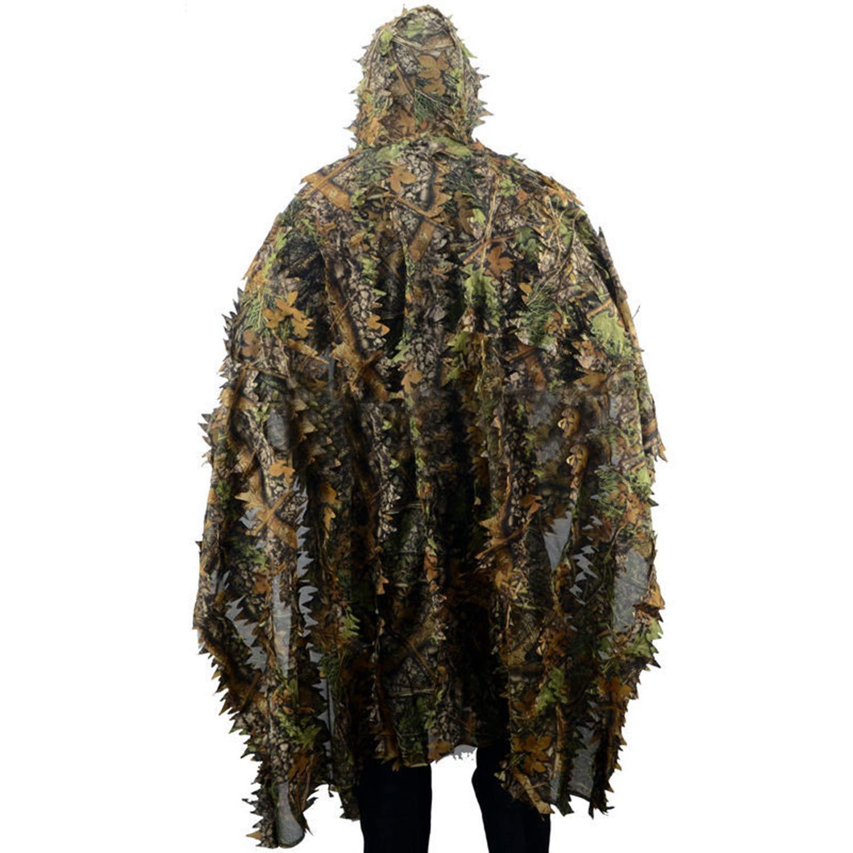 Andifany Camo Mantello a Foglie 3D Yowie Ghillie Tipo Poncho Aperto Traspirante Camouflage Birdwatching Poncho Vestito da Cecchino