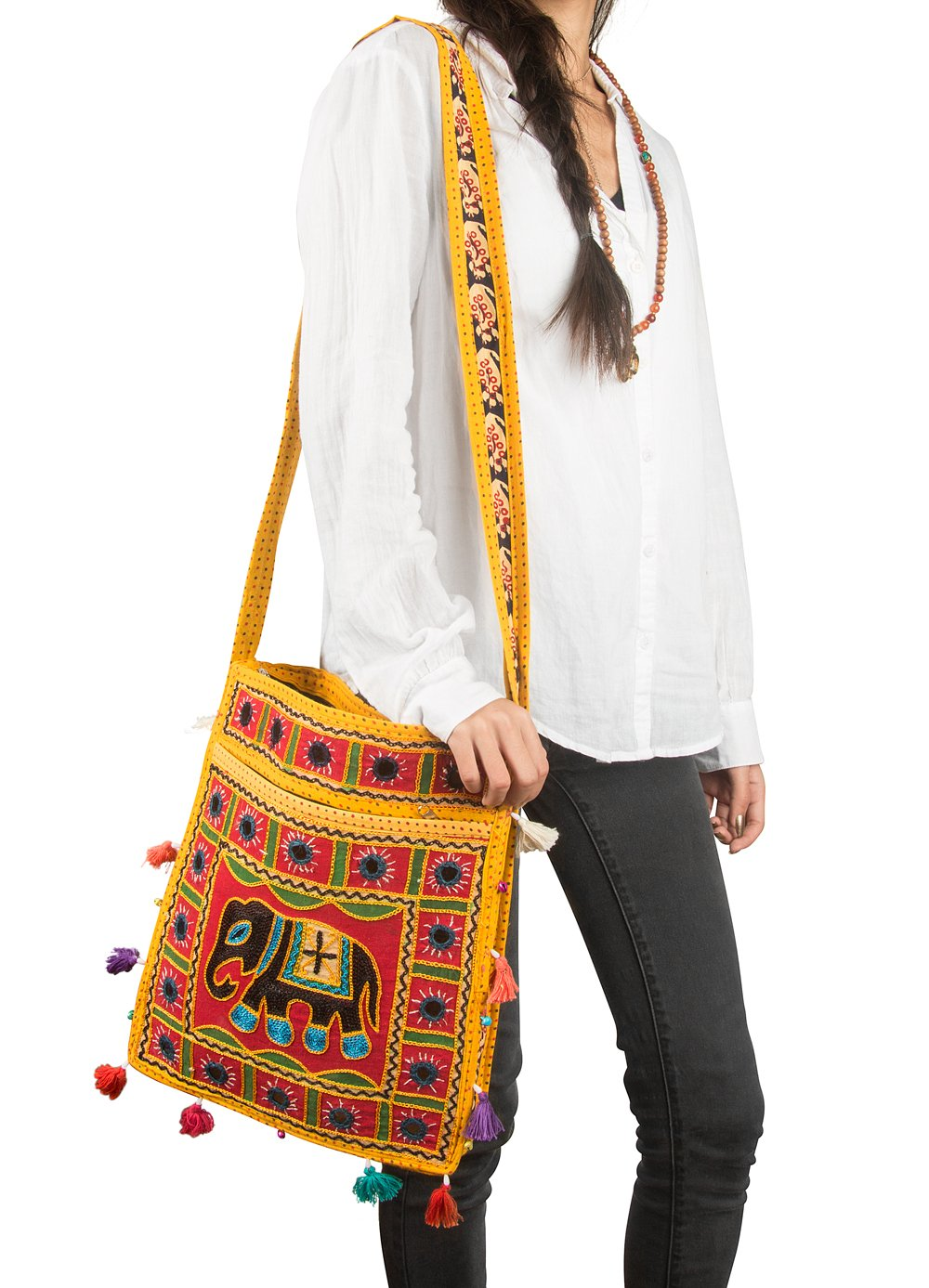Tribe Azure Hobo Cross Body Elephant Messenger Shoulder Bag Mirror Embroidered Roomy Women Purse Tote Colorful Casual Everyday Hippie Boho (Mustard)