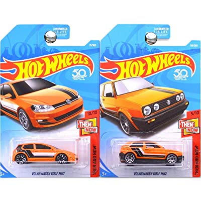 Hot Wheels 2020 Then and Now Volkswagen Golf MK2 MK7 Orange Set of 2: Toys & Games
