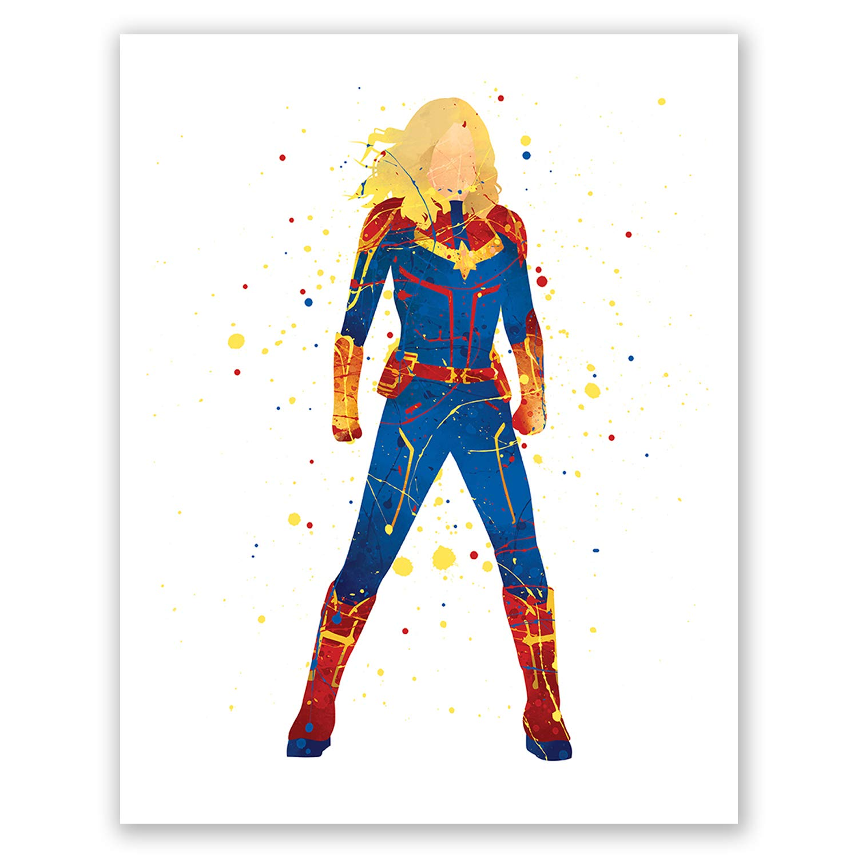 PGbureau Captain Marvel Art Poster – Inspired Superhero Watercolor Print – Avengers Home Decor – Brie Larson – Carol Danvers (8x10)