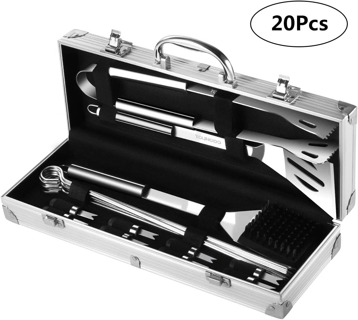 YOUNGDO 20Pcs BBQ Grill Tools Set Barbecue Grilling Accessories Kit with Aluminum Case – Tongs, Grill Brush, Skewers and Spatula Stainless Steel Utensils, Birthday Gifts for Men Dad