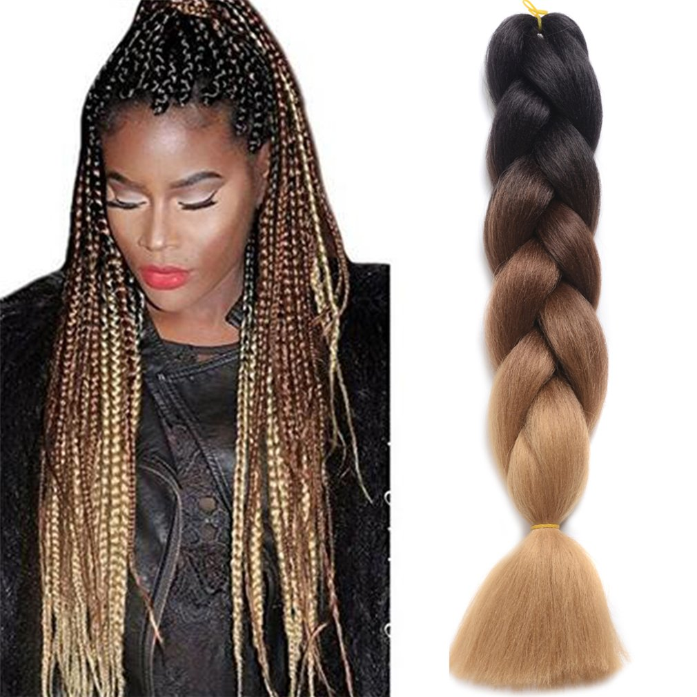 Ding Dian Synthetic Braiding Hair Extensions Kanekalon Hair Ombre