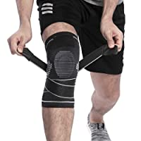 Berter Knee Support Brace,Compression Knee Sleeve Protector with Non-slip Adjustable Pressure Strap for Pain Relief Meniscus Tear, Arthritis, Running, Basketball, MCL, Crossfit, Jogging Post Surgery Recovery Men & Women (Single)