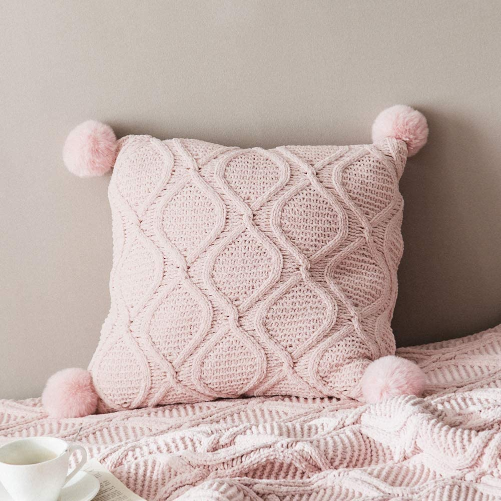 """LakeMono Chenille Pillow Covers Decorative Stretchable Throw Cushion Case  with Velvet Pom Poms for Living Room/Car/Office Light Pink, 12"""" x 12"""" 12""""  x ..."""