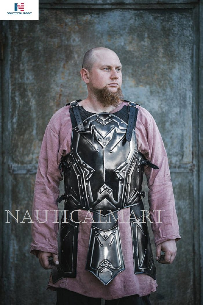 Medieval Knight Breastplate Blackened Steel LARP Armor Dwarven Style Cuirass Chest&Back - Halloween