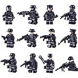 LDB SHOP 12 pezzi Mini Poliziotto Minifigures Set,SWAT Team Building Blocks,Building Blocks Kids Educational Toy- Nero