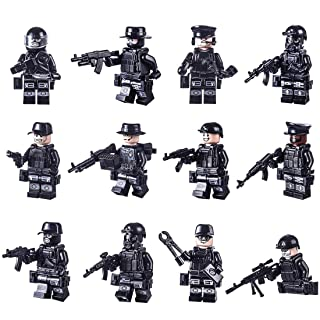 LDB SHOP 12 pezzi Mini Eighth Route Army Set,Building Blocks Kids Educational Toy- Nero