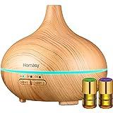 Homasy Humidificador Aromaterapia, Difusor de Aceites Esenciales 150 ML,Regalo 2 * 2ml aceites Esenciales, Difusor de aromaterapia, 7-Color LED, Auto-Apaga, purificar el Aire y mejorara el Aire seco